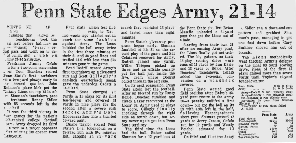 ArmyFB_1974_vsPSU_ReadingEagle_Oct61974
