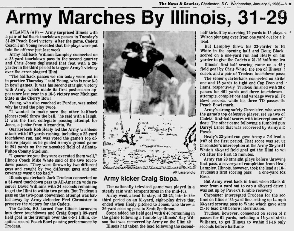 ArmyFB_1985_PeachBowlvsIll_NewsandCourier_Jan11986