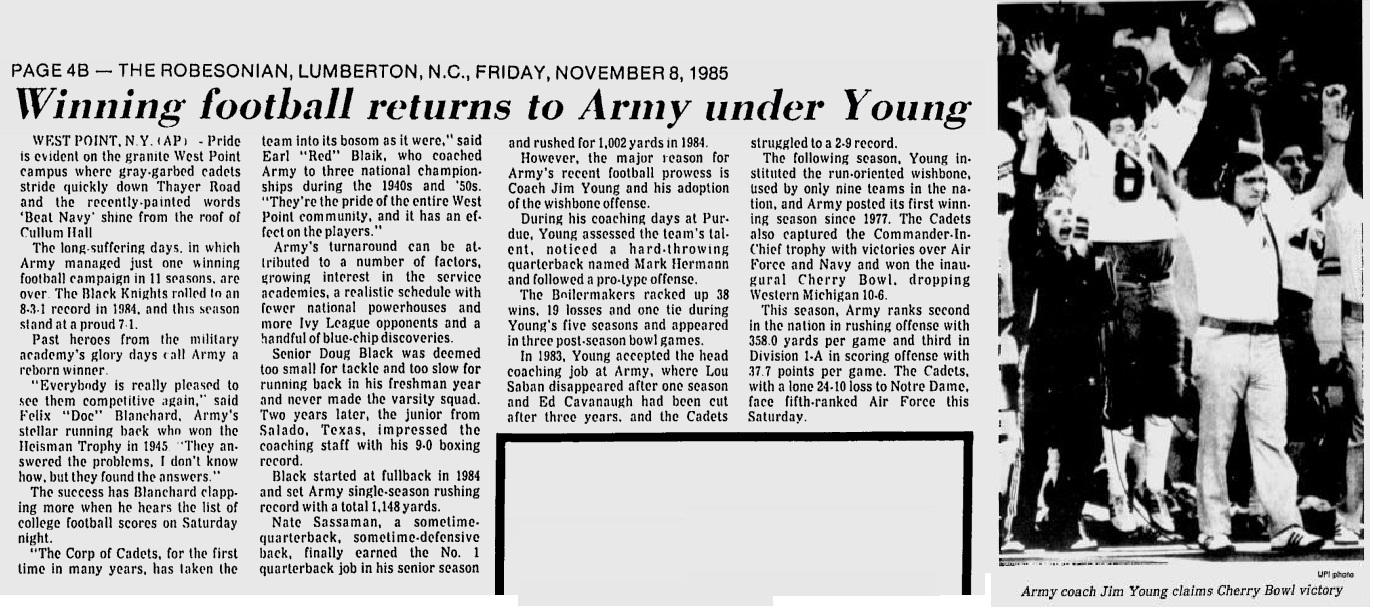 ArmyFB_1985_WinningunderYoung_Robesonian_Nov81985