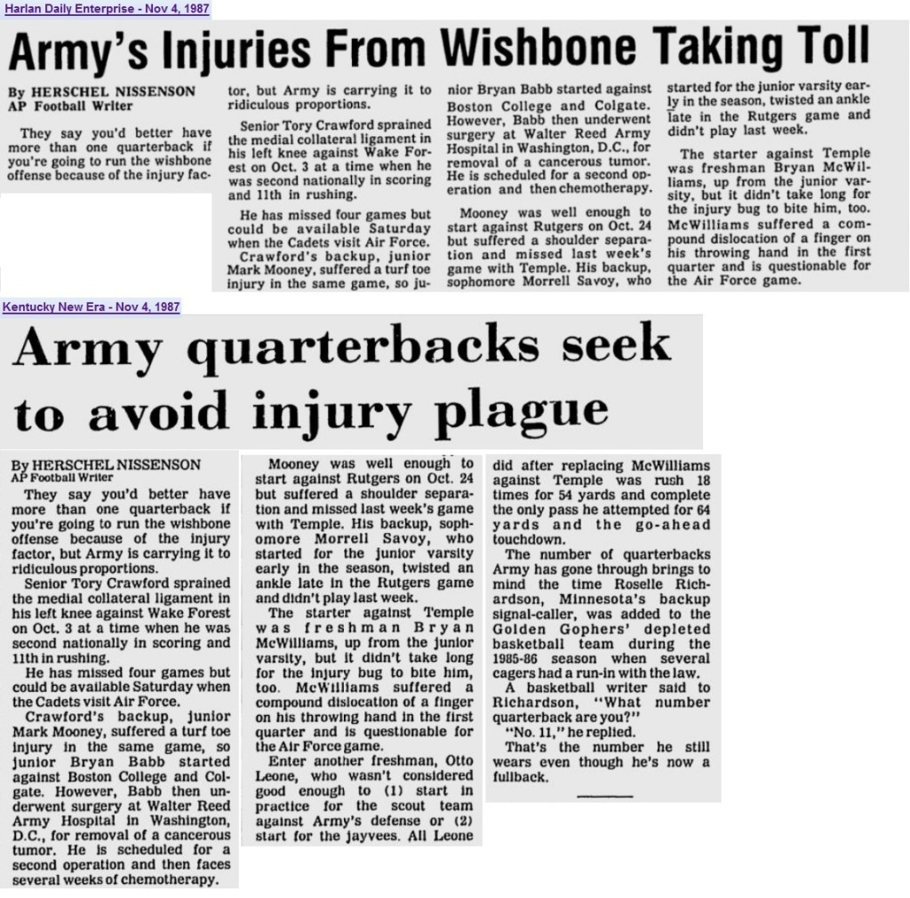 ArmyFB_1987_QB-Injuries_various_Nov87