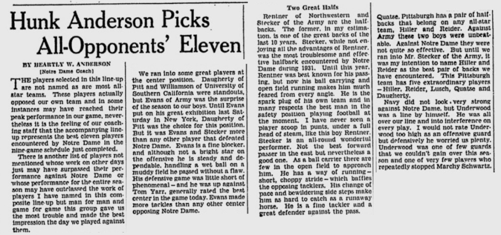 ArmyFB_1931_NDCoachOpponentRatings-Stecker-Evans_MilwaukeeJournal_Dec81931