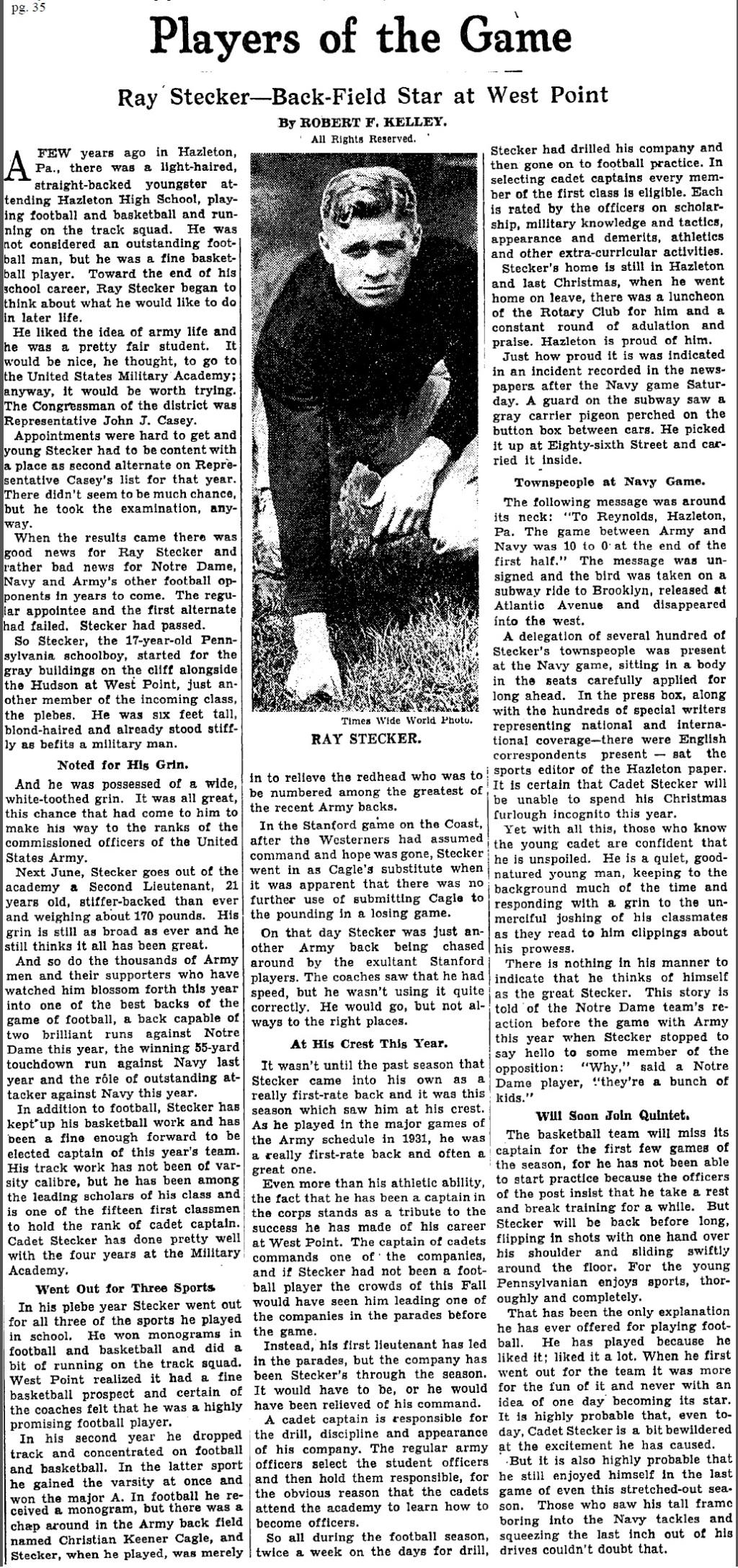 ArmyFB_1931_RayStecker_NYT_Dec151931