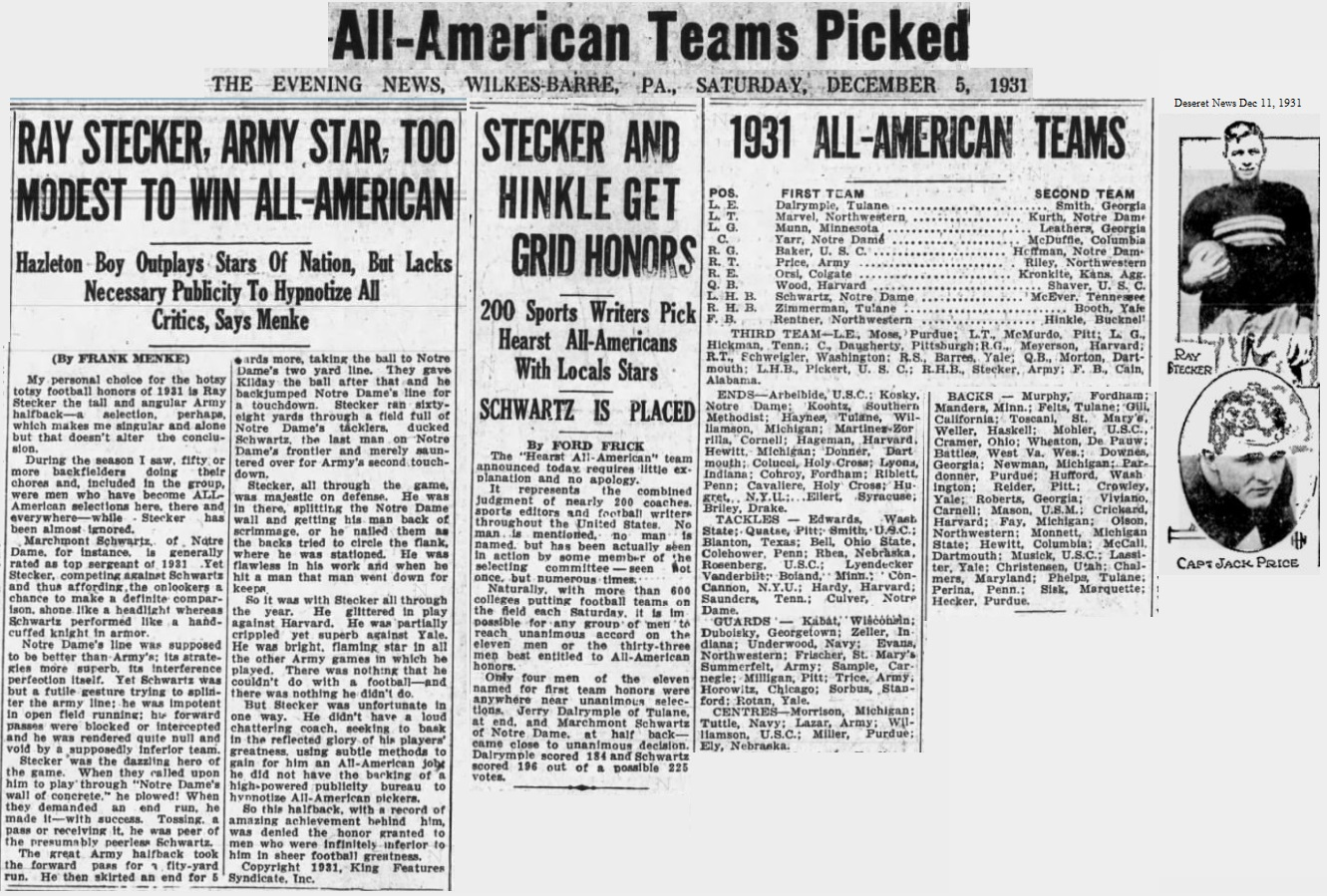 ArmyFB_1931_Stecker-Price-Summerfelt-Lazar_All-America_EveningNews_WilkesBarrePA_Dec51931