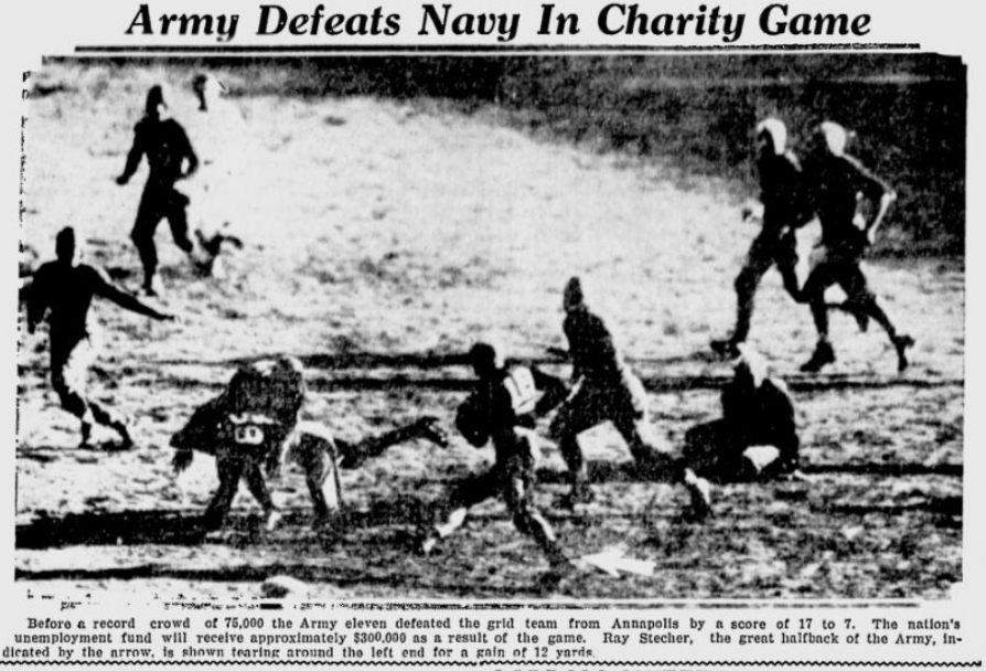 ArmyFB_1931_vsNavy-Stecker-run_PainesvilleTelegraph_Dec141931