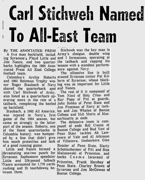 ArmyFB_1964_RollieStichweh-All-East_NewburghEveningNews_Dec11964