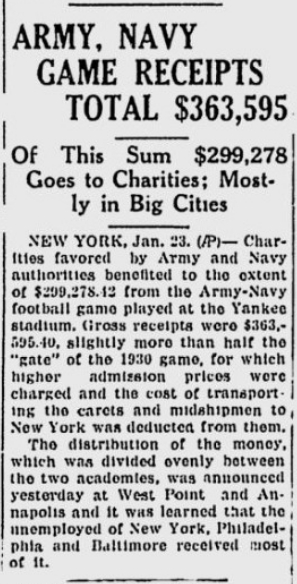 ArmyvsNavy_1931_Proceeds_TheTelegraph_Jan231932