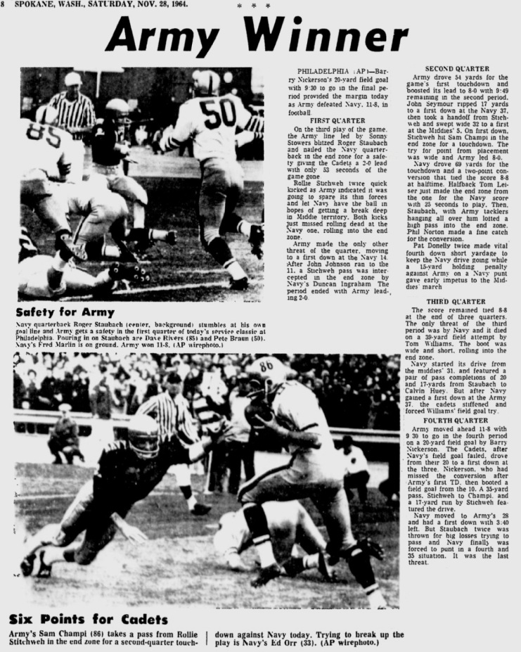 ArmyFB_1964_vsNavy_SpokaneDailyChronicle_Nov281964