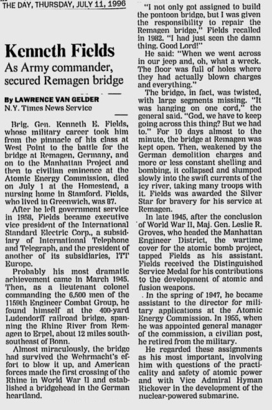 KennethEFields_USMA1933_obit_TheDay_Jul111996