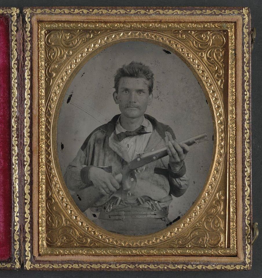 Private Stephen Pollard, 7th Confederate States Cavalry Battalion. Of particular note is the 1855 Springfield pistol carbine.jpg